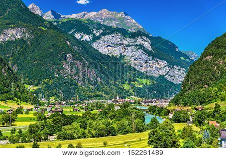 View of Erstfeld, a village in Swiss Alps, canton Uri