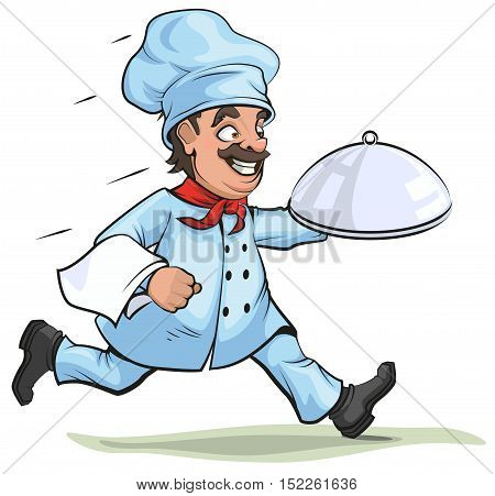 Male chef carries finished dish on platter. Isolated on white vector cartoon illustration