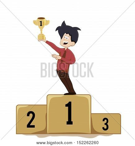cartoon man winner holding trophy on podium