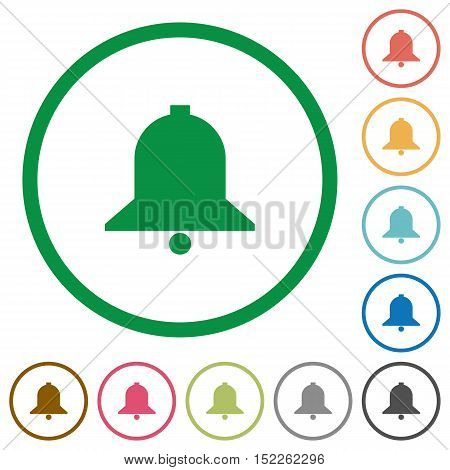 Set of bell color round outlined flat icons on white background