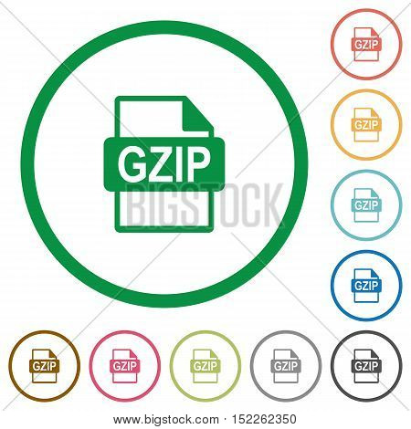 Set of GZIP file format color round outlined flat icons on white background