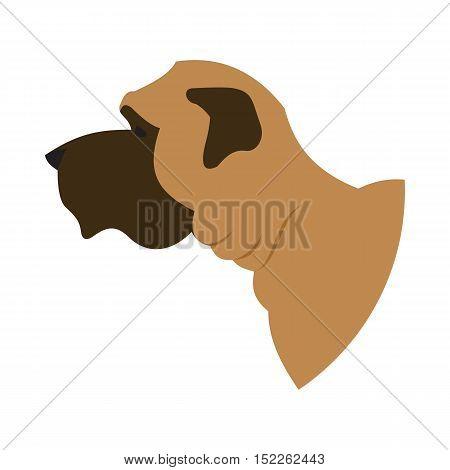 Dog head english mastiff. Breed doggy isolated on white background. Vector illustration