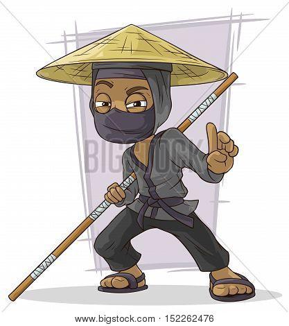 A vector illustration of Cartoon black Asian ninja in mask