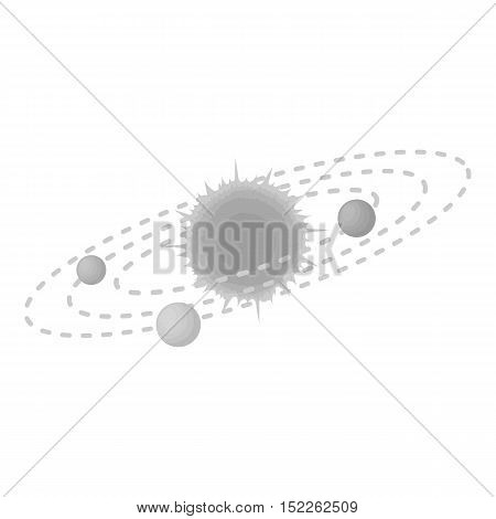 Solar system icon in monochrome style isolated on white background. Space symbol vector illustration.
