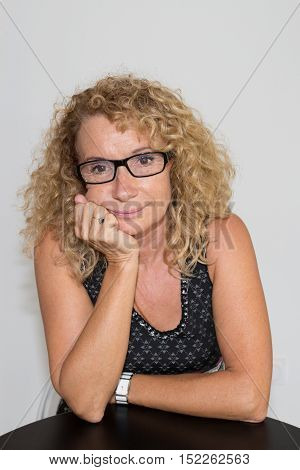 Attractive Trendy Mature Woman With Eyeglasses, Isolated