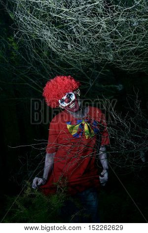 a scary evil clown in the woods pulling up his long red costume, in the dark of night