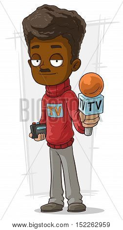 A vector illustration of Cartoon TV journalist with microphone in red pullover