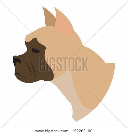 Dog head french bulldog. Snout of hound isolated on white background. Vector illustration