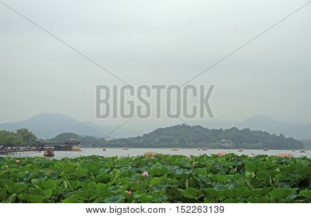 the world famous West lake in Hangzhou China