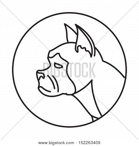 Line head dog in round. French bulldog breed profile, vector illustration