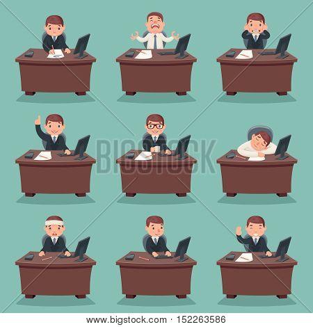 Businessman character work and office desktop set cartoon design vector illustration