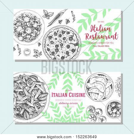 Italian food vintage design template. Horizontal banners set. Vector illustration hand drawn linear art. Italian Cuisine restaurant menu. Hand drawn sketch vector flyers.