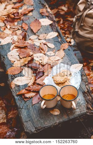 Two tin mugs with warm tea and cookies on wooden bench on fallen autumn leaves in the forest, outdoor weekend, fall camping, top view