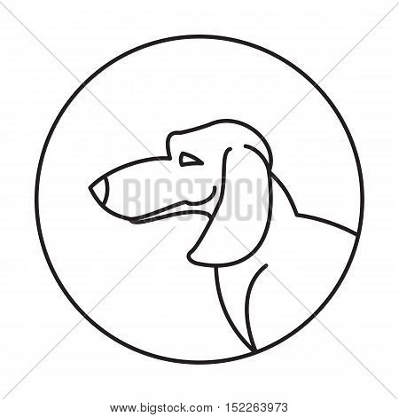 Dog head dachshund in a linear style. Snout animal in round, vector illustration