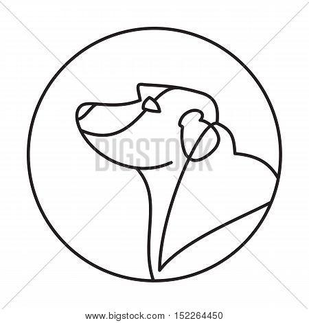 Head of breed dog labrador retriever. Friendly mammal in linear style. Vector illustration