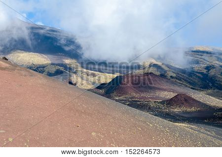 Southern flank of Mount Etna an active stratovolcano on the east coast of Sicily Italy showing lateral crater.