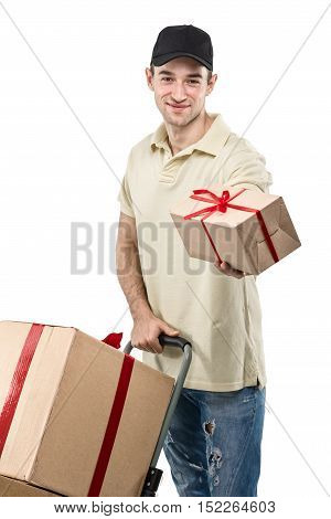 Courier a handcart gift boxes on white