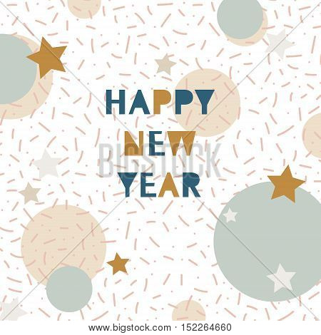 Hand Drawn Vector Illustration - Happy New Year In The Style Of 80's. Pattern With  Abstract Element