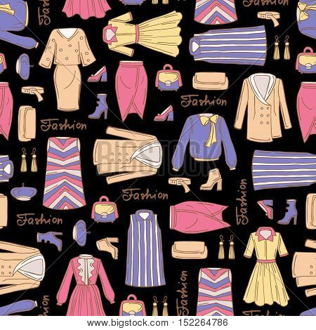 Vector seamless pattern with hand drawn colored fashionable clothes for women on black color. Pattern on the theme of fashion and beauty. Background for use in design, packing, web site, fabric