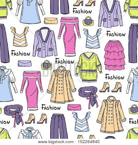Vector seamless pattern with hand drawn colored fashionable clothes for women. Pattern on the theme of fashion beauty. Background for use in design, packing ,web site, fabric