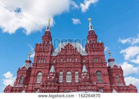 Moscow historical museum building in the Red Square Russia