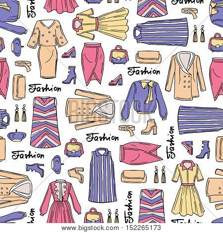 Vector seamless pattern with hand drawn colored fashionable clothes for women. Pattern on the theme of fashion and beauty. Background for use in design, packing, web site, fabric