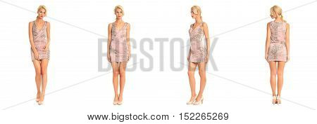 Beautiful Blonde Woman In Tight Short Dress Isolated On White
