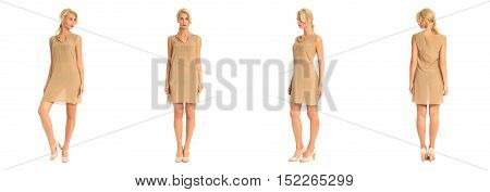 Beautiful Blonde Woman In Short Dress Isolated On White