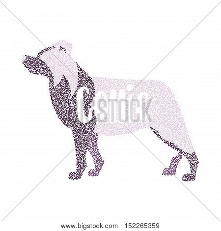 Form of round particles border collie design. Animal breed dog figure creature vector illustration