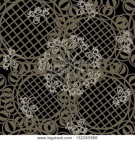 Vector seamless ornament texture - brown background
