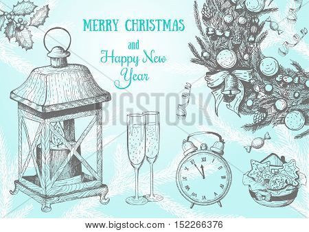 Christmas hand drawn frame for xmas design. Vintage Xmas invitation frame design. Linear graphic. New year vector illustration.