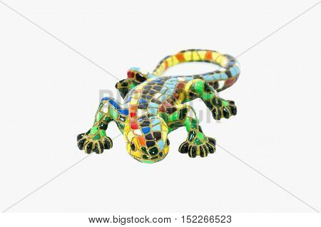 multicolored decorative lizard isolated on white background
