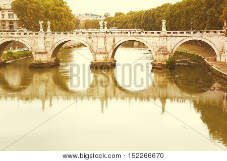 Ponte Sant'Angelo, Rome, Italy, retro filter spplied