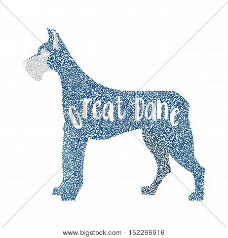 Form of round particles great dane dog. Big hound domestic, vector illustration