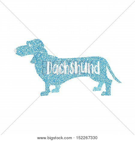 Form of round particles dachshund dog flat design. Figure animal in dot, vector illustration
