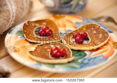 Fritters with cranberry on a colorful plate