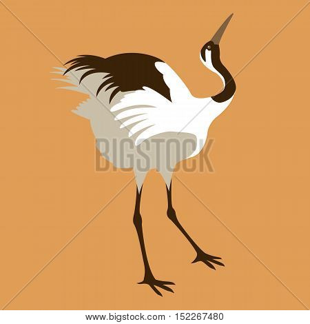 Japanese crane vector illustration style Flat profile