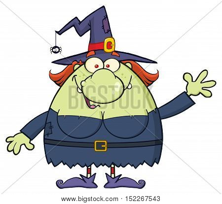 Ugly Witch Cartoon Mascot Character Waving For Greeting. Illustration Isolated On White Background