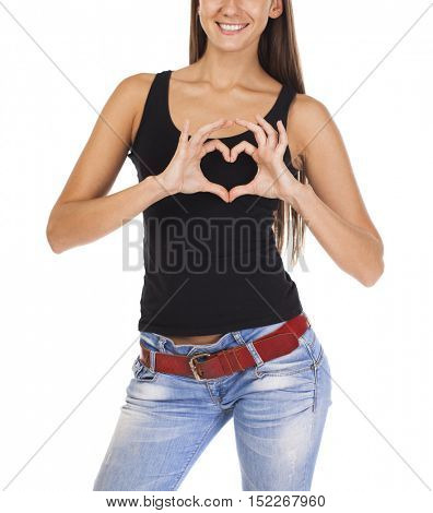 The sign of love and kindness. Happy brunette woman in black t-shirt, isolated on white background