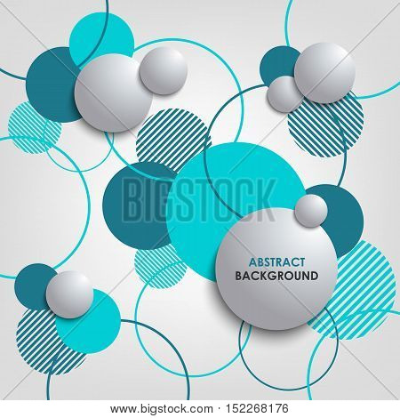 Abstract background with blue circles and bubbles vector eps 10
