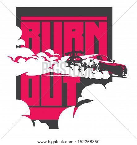 Burnout car, Japanese drift sport car, Street racing, JDM, racing team, turbocharger, tuning. Vector illustration for sticker, poster or badge