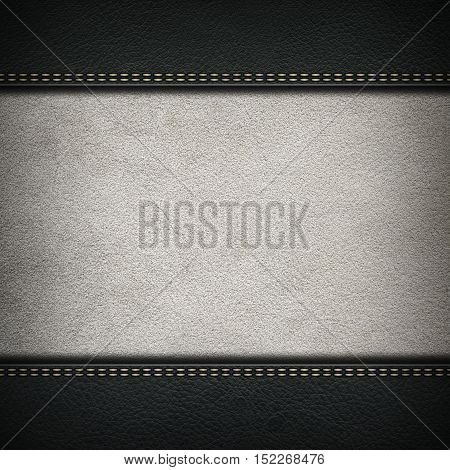 Texture of grey leather background with stitched seam, close-up. Texture for design. Light nubuck background