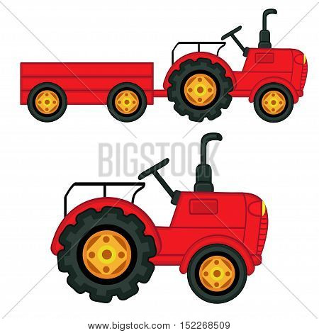 set of isolated  tractor with trailer - vector illustration, eps