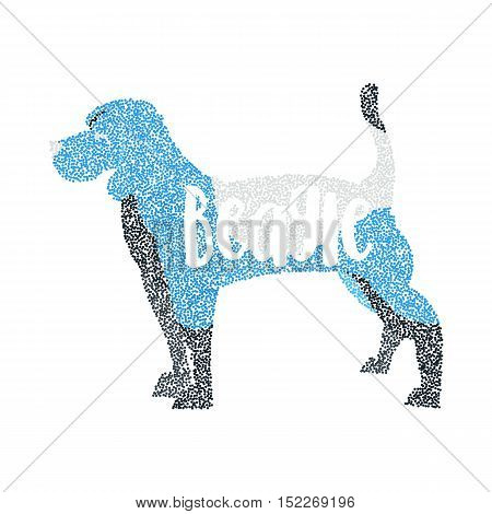 Form of round particles beagle dog isolated. Adorable animal and young puppy, vector illustration