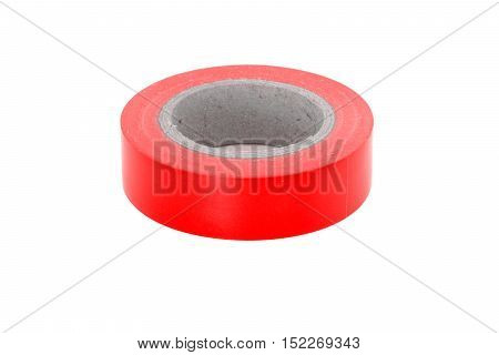 Electrical adhesive red insulation tape roll isolated on white background