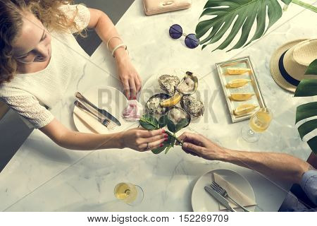 Couple Celebrating Anniversary Gift Concept