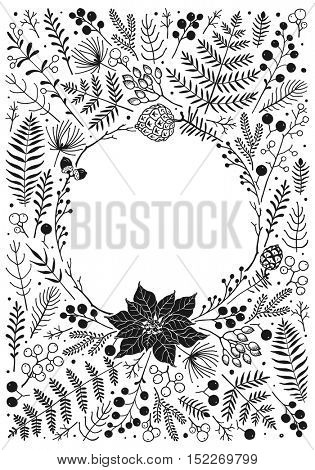 Vertical greeting card for Christmas and New Year. Vector illustration with window of design floral element for Christmas. Hand-drawn illustration in rustic style.