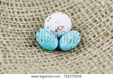 one white and two blue speckled eggs on a burlap hessian background