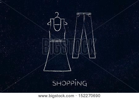 Fashion Trends And Choices: Dress And Jeans Illustration