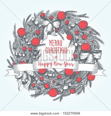 Vector Merry Christmas and Happy New Year hand drawn vintage illustration. Linear graphic. Xmas wreath. Vector image for new year's day christmas decoration winter holiday design new year's eve